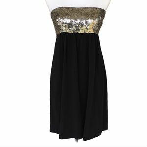 Theory Strapless Black Cocktail Sequins Dress